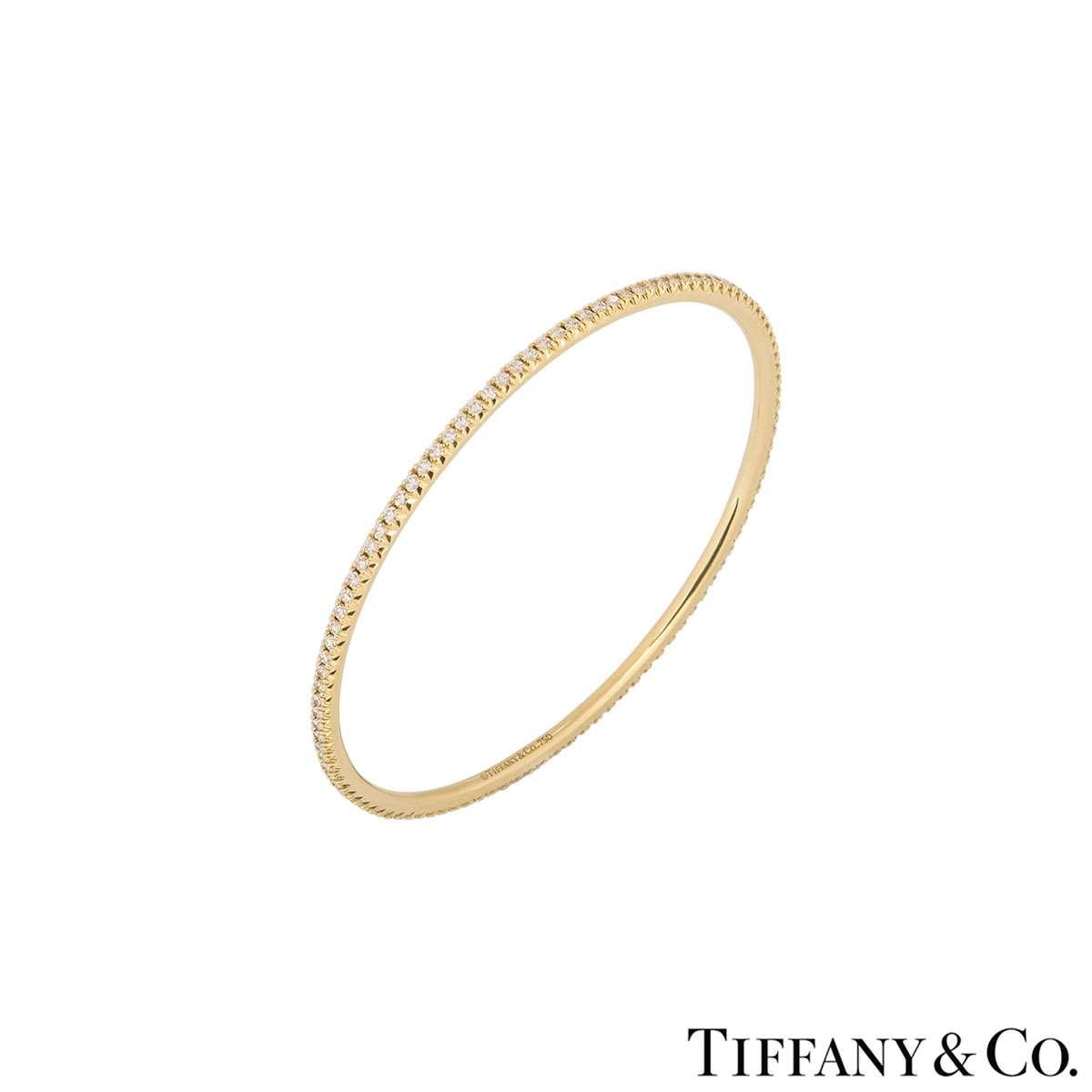 Tiffany & Co. 18k Yellow Gold Diamond Metro Bangle 1.59ct